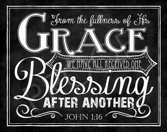 Scripture Chalkboard Art - John 1:16