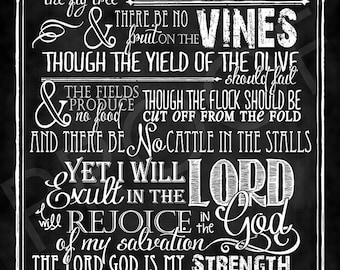 Scripture Art - Habakkuk 3:17-19 Chalkboard Style
