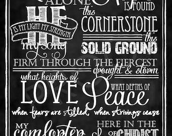 """Hymn """"In Christ Alone"""" - Chalkboard Style Art"""