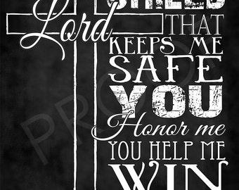 Scripture Art - Psalm 3:3 NIRV Chalkboard Style