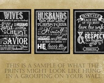 Scripture Art (set of three) taken from Ephesians 5:22-33