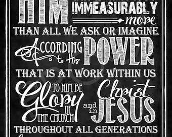 Scripture Art - Ephesians 3:20-21 Chalkboard Style