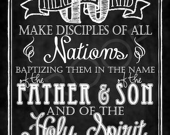 Scripture Art - Matthew 28:19 Chalkboard Style