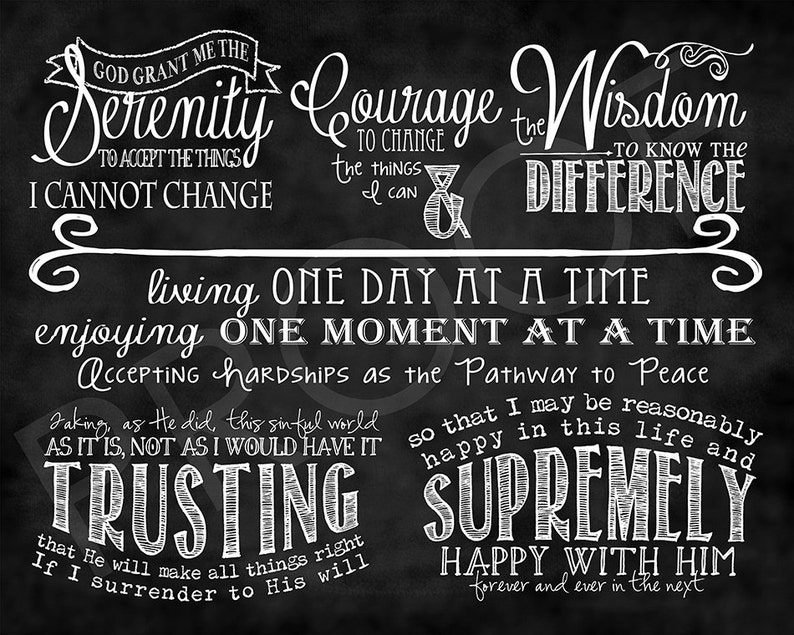 picture about Printable Serenity Prayer named Ceasing Floral Chalkboard Serenity Prayer Printable