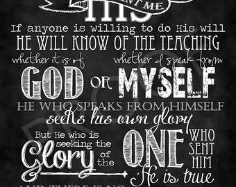 Scripture Chalkboard Art - John 7:16-18