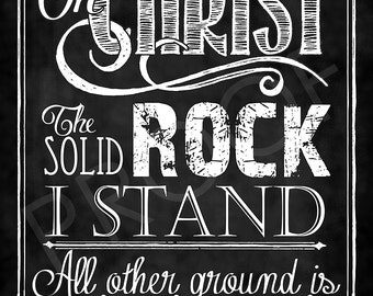 """Hymn """"On Christ The Solid Rock I Stand"""" Chalkboard Style"""