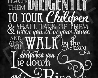Scripture Art - Deuteronomy 6:7 Chalkboard Style