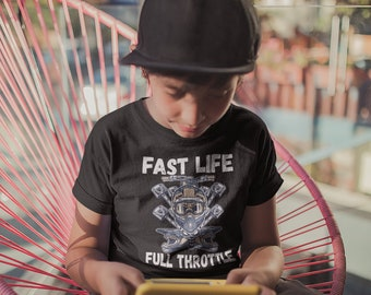 49506e64 Fast Life Full Throttle Skull Racing Off Roading Apparel ATV Shirts Mudding  Toddler Tees