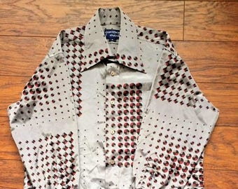 Vintage Retro 1970s 70s Givenchy for Chesa Silver Shiny Retro Disco Club Hipster Dress Shirt Mens Medium