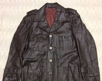 Vintage Retro Mid Century Hipster 1960s 1970s 60s 70s Brown Leather Disco Pimp Sport Coat Suit Jacket Blazer 38R, Mens Small