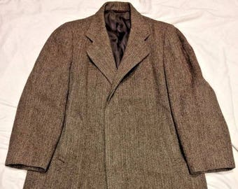 Vintage Retro Mid Century Hipster Mod Harris Tweed Wool Trench Car Over Coat Dress Long Overcoat Mens 42/44
