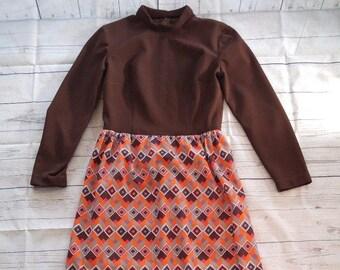 Vintage Retro Bohemian Hippy 1960s 1970s 60s 70s Long Sleeve Modesty Mod Retro Disco Funky Full Length Brown Maxi Dress S/M