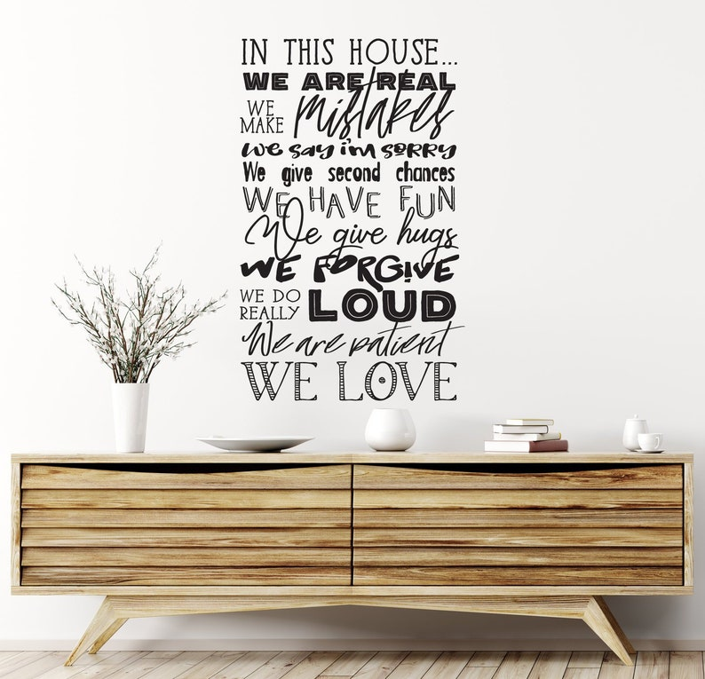   Home Living Family Sign Do List Real Make Mistakes Fun Hugs Love Chalkboard House Rules Vinyl Wall Art Decal In this house we are..