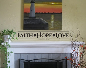 "Vinyl Wall Art Decal | ""Faith Hope Love"""