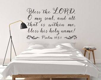 """Vinyl Wall Art Decal Psalm 103:1   """"Bless the LORD, O my soul..."""""""