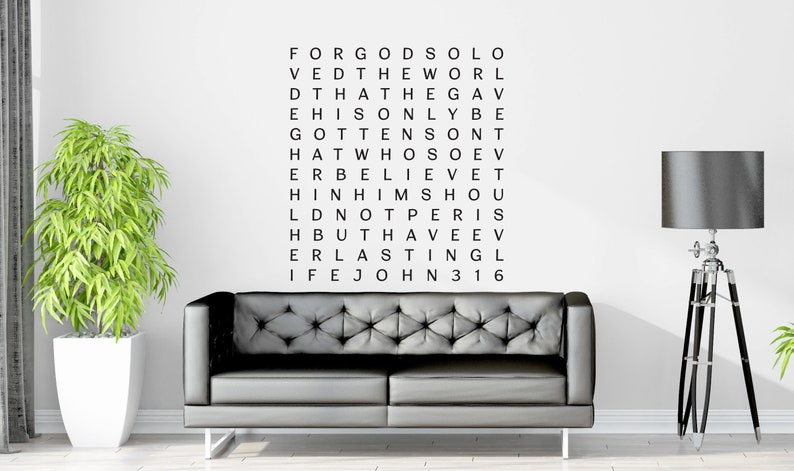 Vinyl Wall Decal | John 3:16 | For God so loved the world | Word Art ~  Scriptio Scriptia Continua ~ Continuous Script ~ Words without Spaces