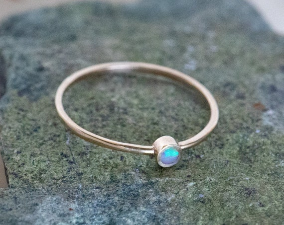 14K Gold and Natural White Opal Setting Handmade Ring - Small Stack Ring - Cute Simple Opalescent Minimalist Geometric Dainty Thin Gold Band