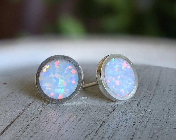Silver and Solid Synthetic Opal Handmade Large Stud Earrings - 10mm Diameter - Lab Opal Sterling Ear Cute Rainbow Shimmer Shine Fake Plugs