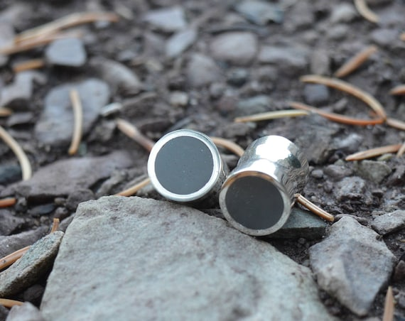 """Silver and Whole Hematite Large Handmade Plugs Gauges - Size 4g to 3/4"""" - Sterling Flare Dark Grey Stone Inlay Metal Dull Shine Gray Flush"""