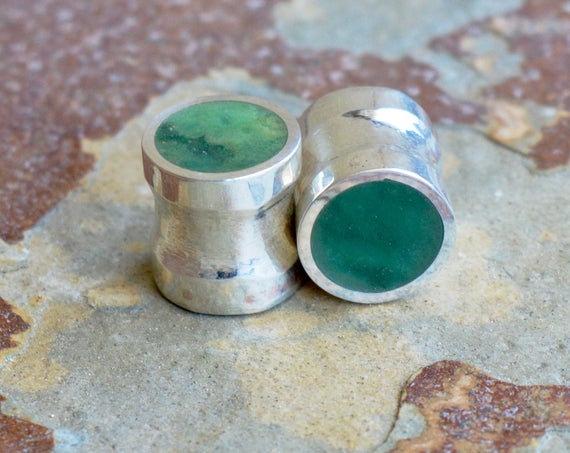 "Silver Ear Gauges with Solid Jade Stone - Large Plug Gauges - Size 2g to 3/4"" - Natural Jade Sterling Ear Flare Dark Green Inlay Metal Stone"