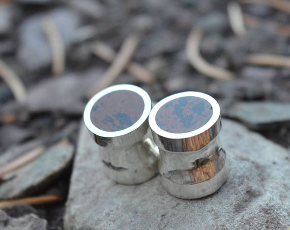 "Silver and Solid Mahogany Obsidian Handmade Large Plugs Gauges - Size 6g to 1"" - Natural Black Brown Stone Sterling - Gold Plating Optional"