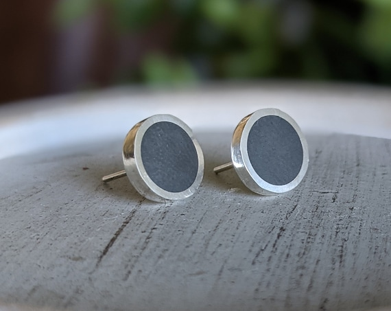 Silver and Solid Hematite Handmade Large Stud Earrings - 10mm Diameter - Real Stone Sterling Ear Cute Grey Natural Dull Shine Fake Plugs