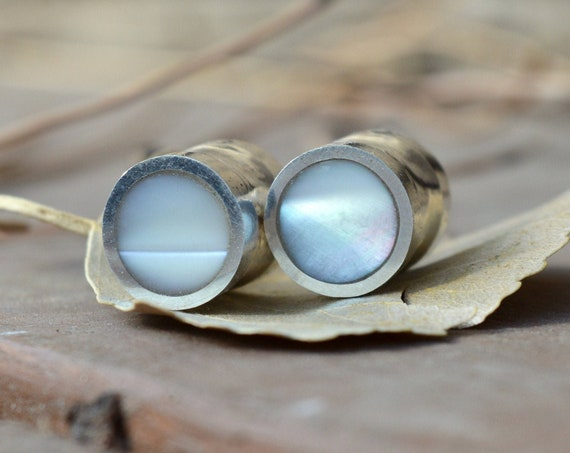 "Silver and Solid Mother of Pearl Handmade Large Plugs Gauges - Size 6g to 1"" - Sterling Shell Pearlescent Stone - Gold Plating Avaiable"