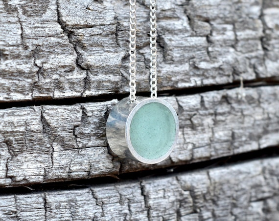 Silver and Solid Aventurine Handmade Circle Pendant Necklace - Minimalist Jewelry Geometric Sterling Simple Beautiful Metalwork Green Stone