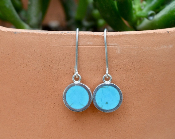 Silver and Solid Turquoise Handmade Dangle Earrings - Blue Green Sterling Ear Jewelry Pair Minimalist Geometric Simple Southwest Minimal