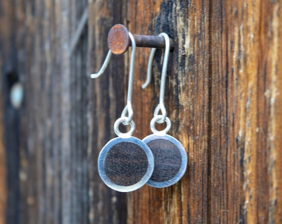 Silver and Philippine Ebony Handmade Dangle Earrings - Dark Brown Wood Sterling Jewelry Pair Minimalist Geometric Simple Metal Minimal