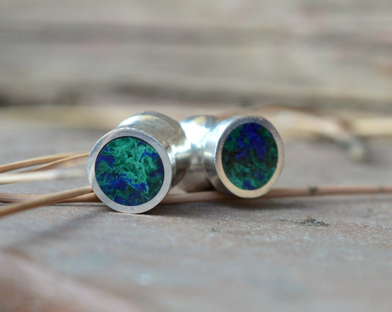 "Silver and Solid Azurite Malachite Handmade Large Plugs Gauges - Size 6g to 3/4"" - Natural Sterling Green Blue Stone - Gold Plating Optional"