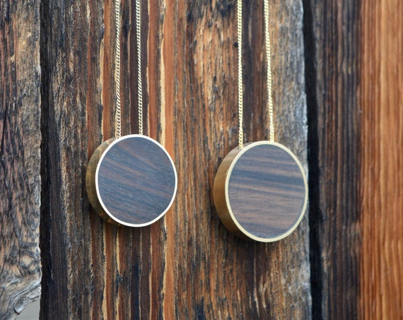 Brass and Philippine Ebony Wood Handmade Circle Pendant Necklace - Minimalist Jewelry Geometric Yellow Cute Simple Grain Brown Metal Hipster