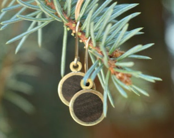 Brass and Philippine Ebony Handmade Dangle Earrings with Gold Filled Wire - Dark Brown Wood Gold Minimalist Geometric Simple Metal Minimal