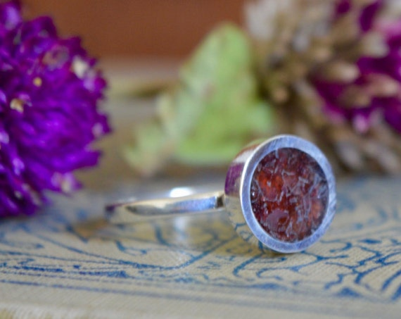 Silver and Crushed Garnet Handmade Ring - Natural Garnet Simple Red Gem Stone Minimalist Geometric Sterling Rock Powdered Color Circle
