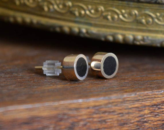 14K Gold and African Ebony Handmade Medium Size Stud Earrings - Wood Gold Ear Cute Black Piece Post Stud Dainty Circle Minimalist Hipster