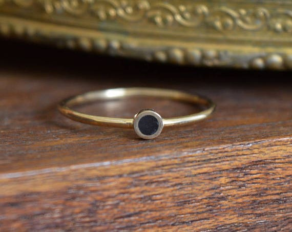 14K Gold and African Ebony Wood Handmade Ring - Small Setting Stack Ring - Cute Simple Black Minimalist Geometric Dainty Thin Gold Band