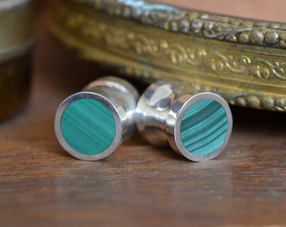 "Silver and Solid Malachite Handmade Large Plugs Gauges - Size 6g to 1"" - Natural Malachite Sterling Striped Green - Gold Plating Available"