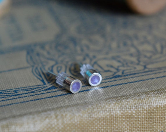 Silver and Crushed Amethyst Handmade Small Stud Earrings - Real Stone Sterling Ear Cute Purple Crystal Piece Dainty Tiny Post Natural Small