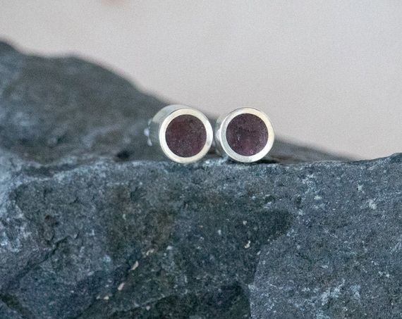 Silver and Crushed Garnet Handmade Small Stud Earrings - Real Stone Sterling Ear Cute Blood Red Natural Piece Dainty Tiny Post Small