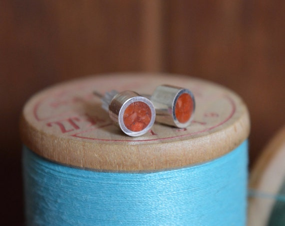 Silver and Crushed Red Coral Handmade Medium Stud Earrings - Real Natural Sterling Ear Cute Orange Pink Bright Piece Dainty Post Tiny Size
