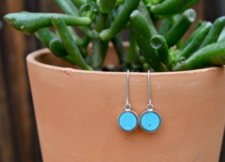 Silver Turquoise Earrings Dainty Earrings Blue natural Earrings Simple Stone Earrings Seafoam blue Earrings Turquoise Dangle Earrings
