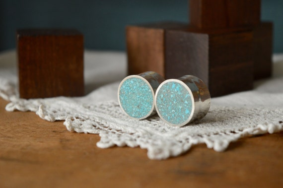 "Silver and Crushed Turquoise Plugs Gauges - Large Plugs - Size 6g to 2"" - Natural Sterling Blue Green Metal Stone - Gold Plating Available"