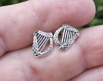 Vintage 925 Sterling Silver Harp Stud Earrings