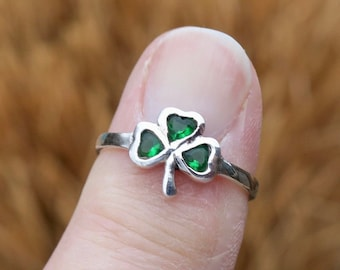 925 Sterling Silver Shamrock Wrap Ring Adjustable Clover Lucky Charm Flower Stud Good Luck Ring Birthday Gift