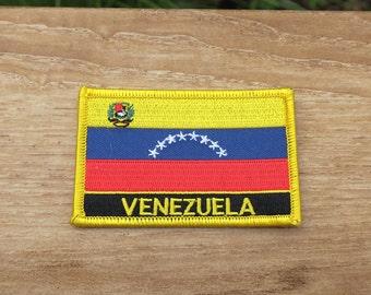 VENEZUELA FLAG PATCH EMBROIDERED VENEZUELAN SOUVENIR w// VELCRO® Brand Fastener