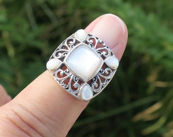 Cheap Sale Vtg 925 Sterling Silver Real Mother-of-pearl Unique Floral Design Ring Size 8 Fine