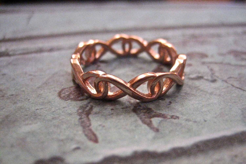 SALE Vintage 14K Rose Gold Over 925 Sterling Infinity Ring