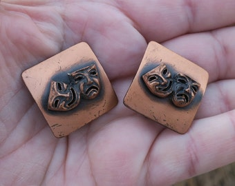 Vintage Copper Comedy Tragedy Clip Earrings