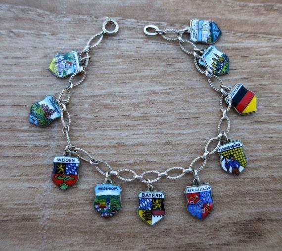 Enamel Travel Shield Charm Bracelet