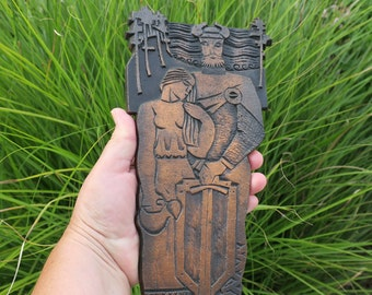 Cool Vintage Copper Knight and Maiden Plaque